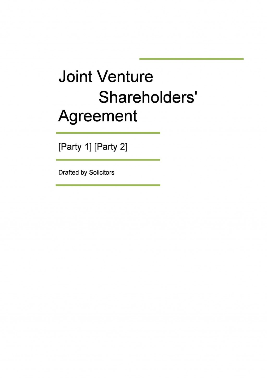 002 Frightening Free Simple Joint Venture Agreement Template High Definition Large