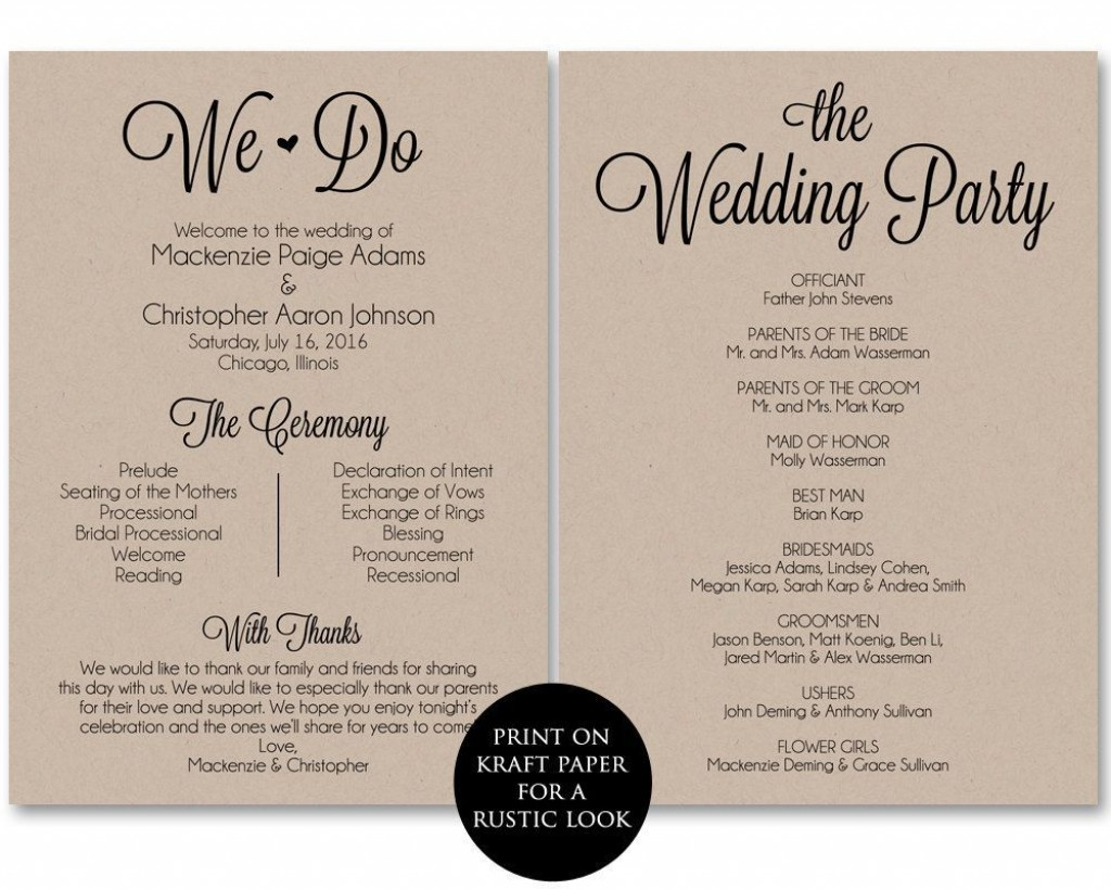 002 Frightening Free Template For Wedding Ceremony Program High Resolution Large