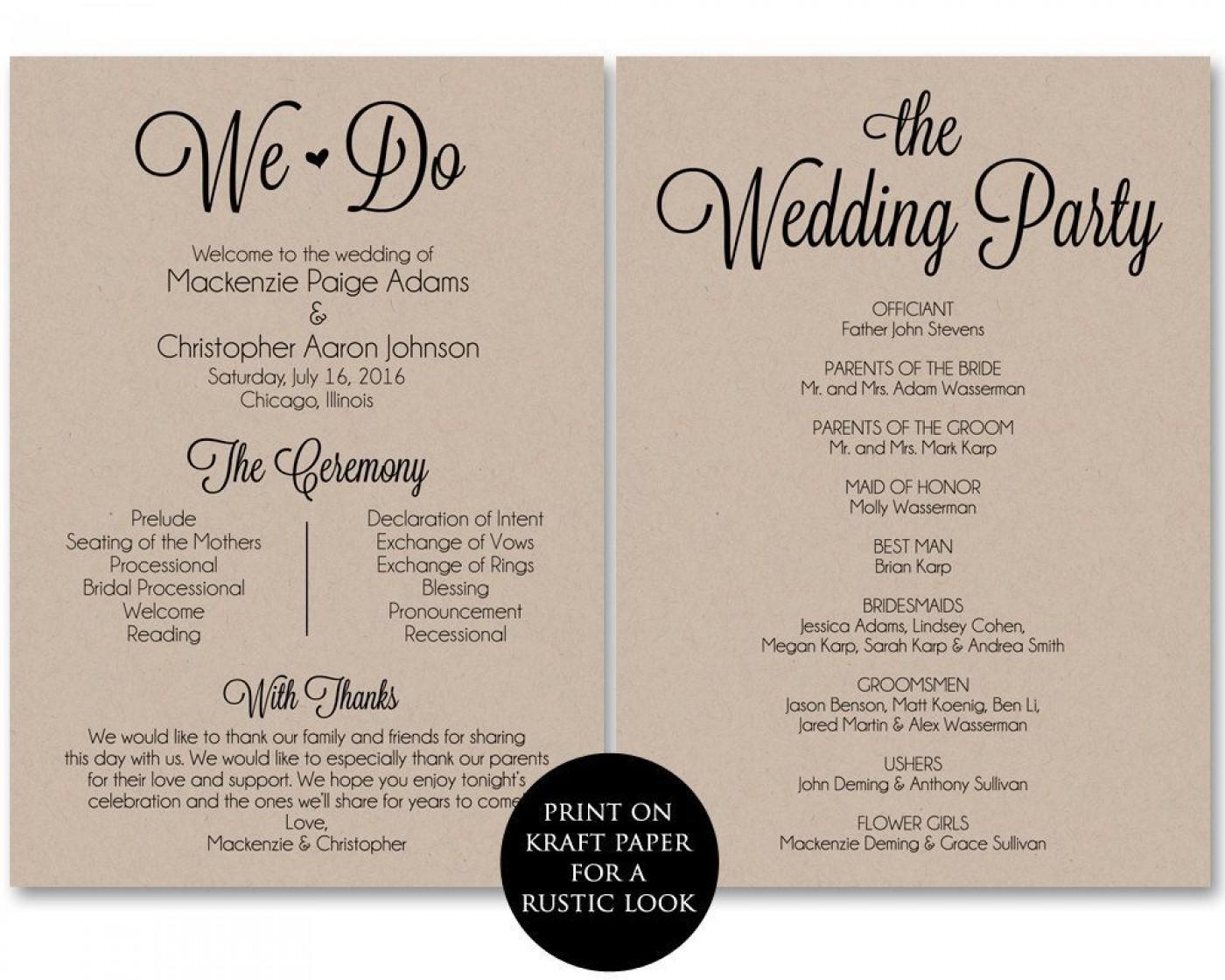 002 Frightening Free Template For Wedding Ceremony Program High Resolution 1400