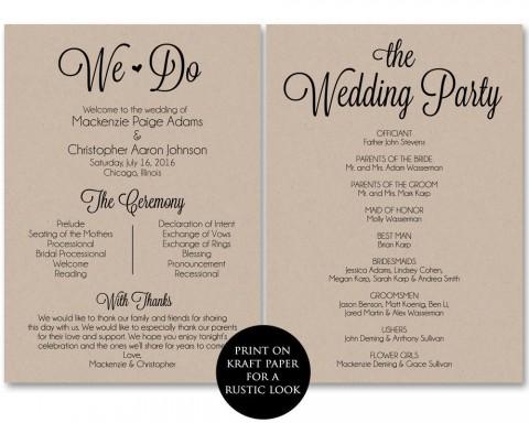 002 Frightening Free Template For Wedding Ceremony Program High Resolution 480