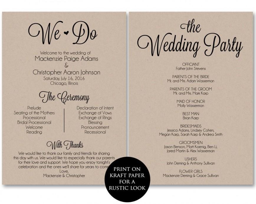 002 Frightening Free Template For Wedding Ceremony Program High Resolution 868