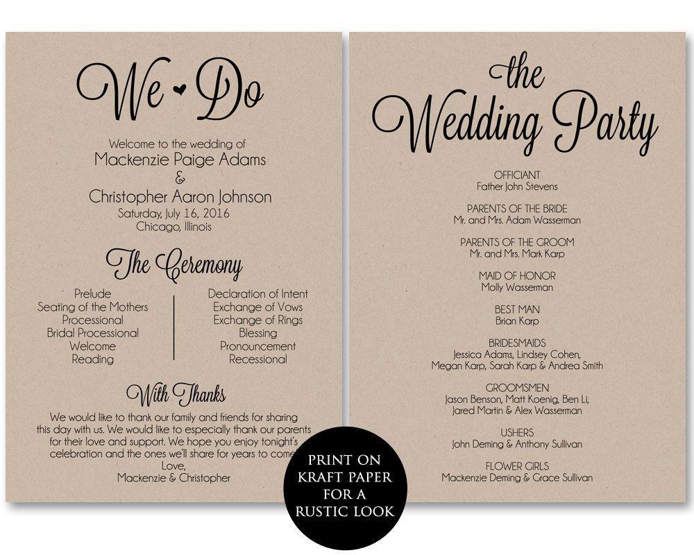 002 Frightening Free Template For Wedding Ceremony Program High Resolution Full