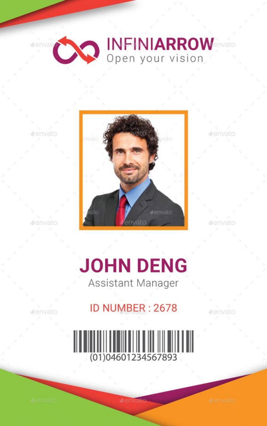 002 Frightening Id Badge Template Word Photo  Free EmployeeLarge