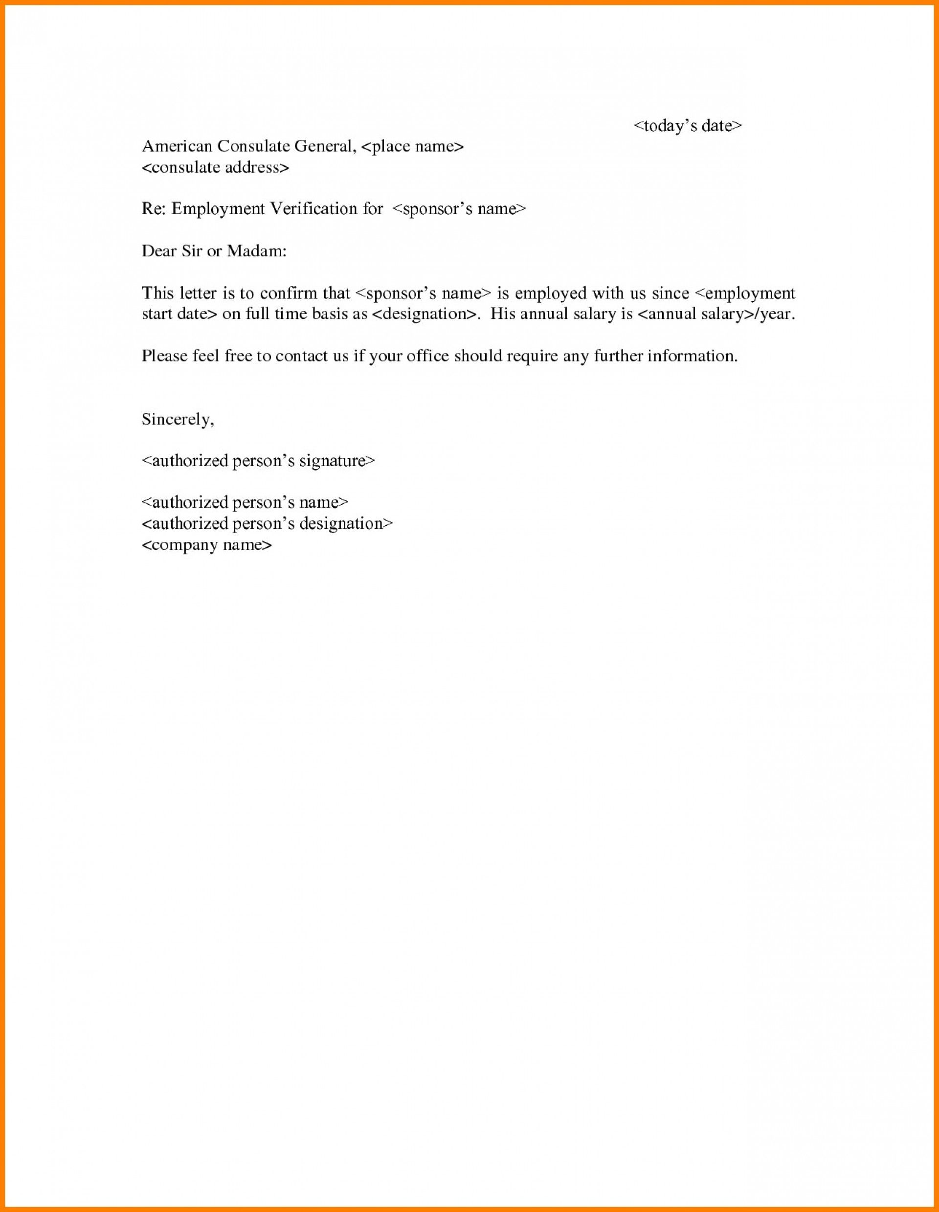 002 Frightening Income Verification Letter Template Picture  Word From Employer Proof OfFull