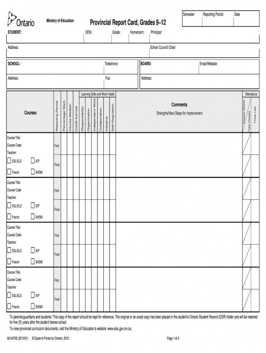 002 Frightening Middle School Report Card Template Pdf Concept 868