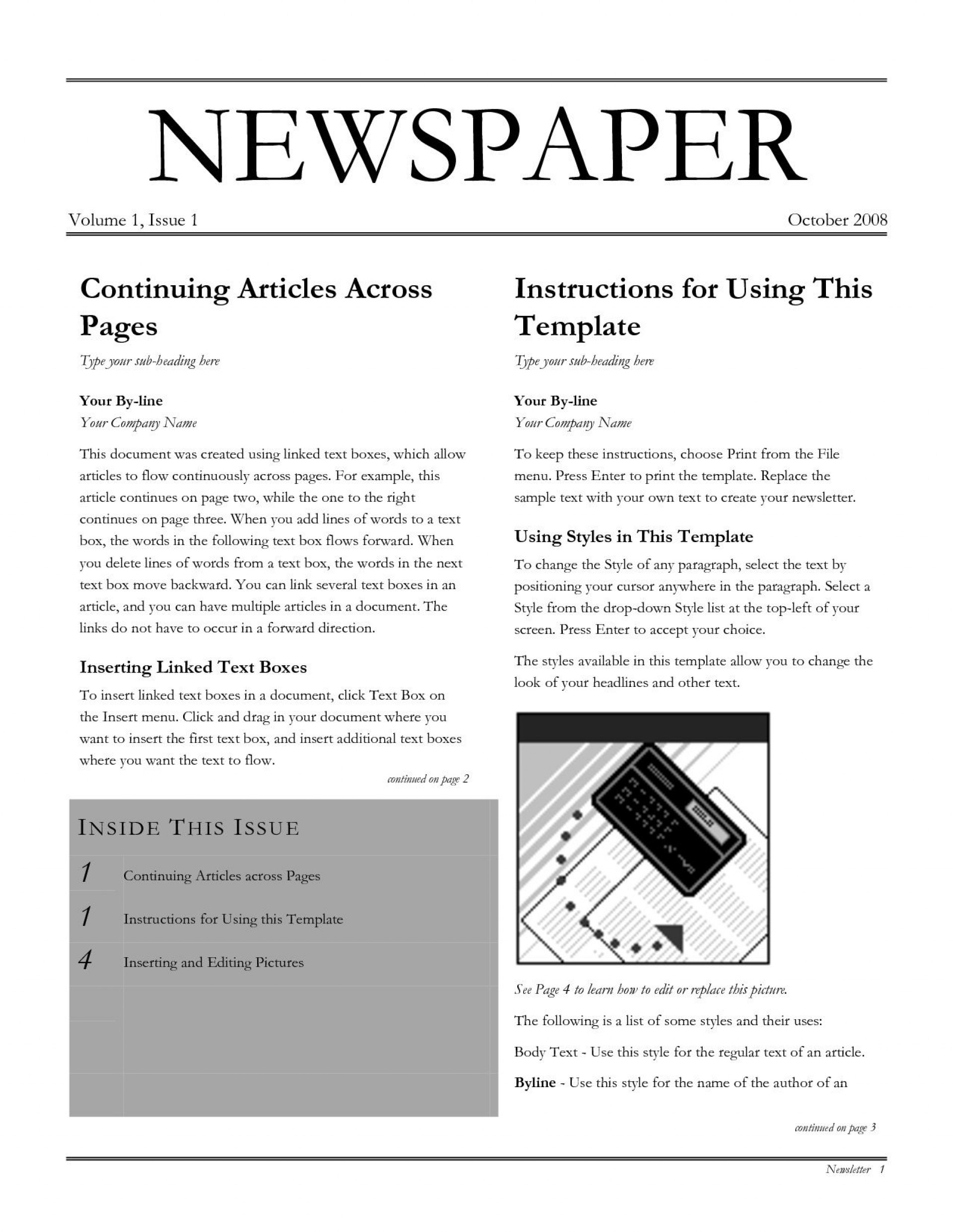002 Frightening Newspaper Article Template Google Doc Image  Docs Format1920