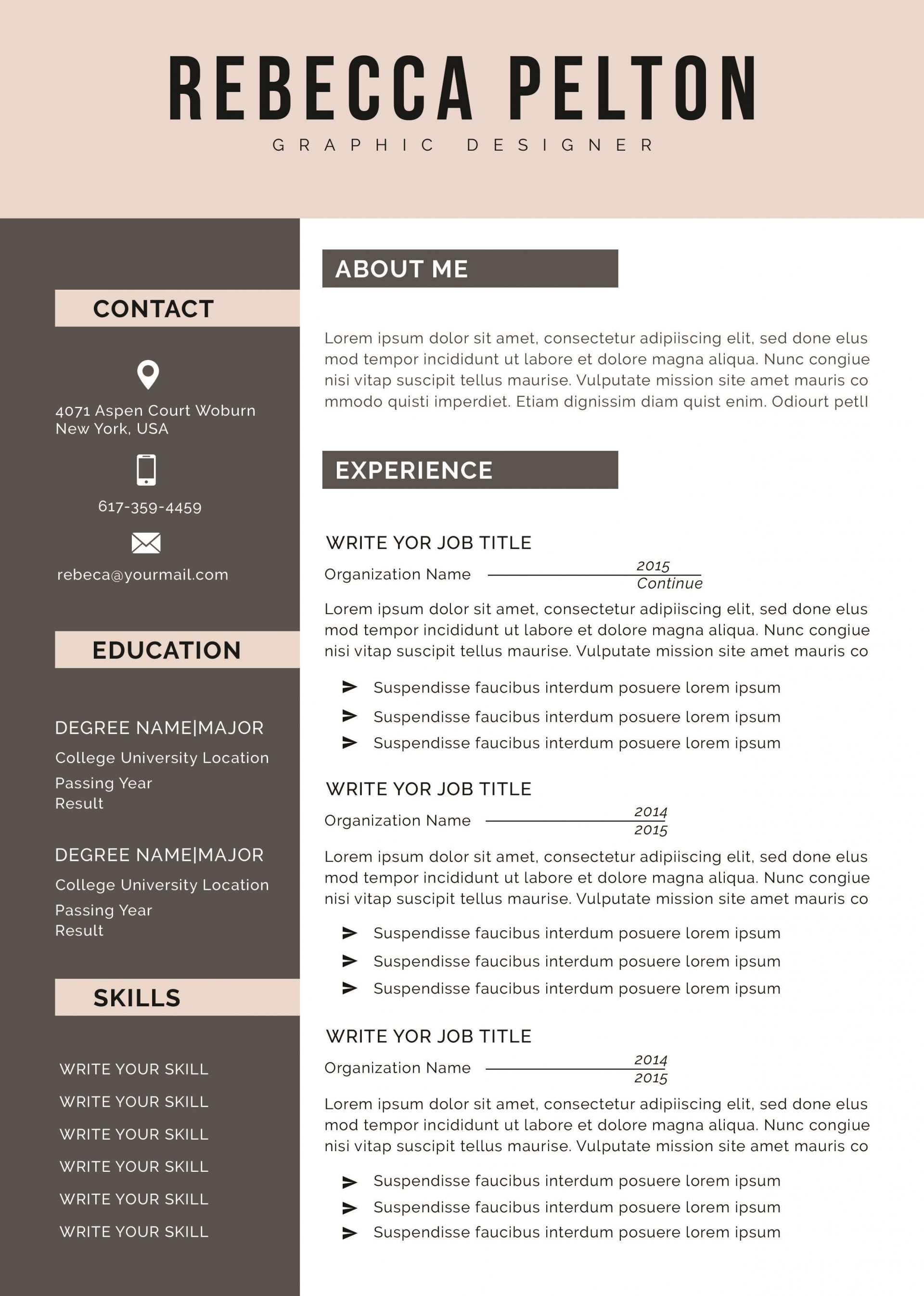 002 Frightening Professional Cv Template 2019 Free Download Inspiration 1920