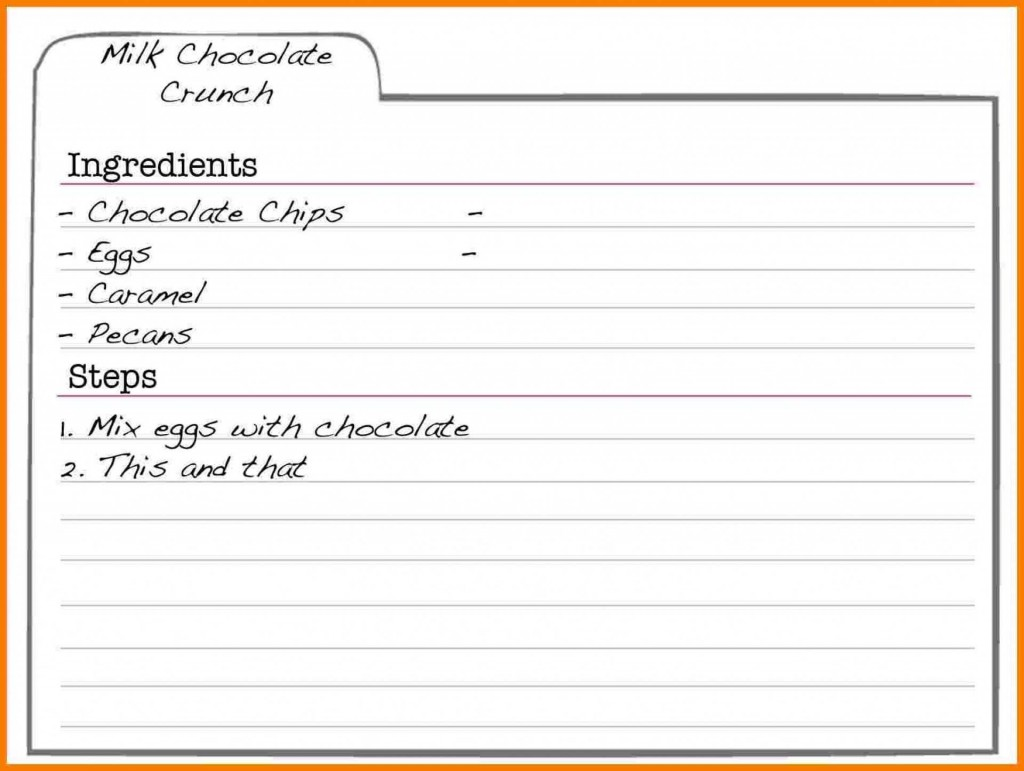 002 Frightening Recipe Card Template For Word Highest Clarity  Printable Blank FillableLarge