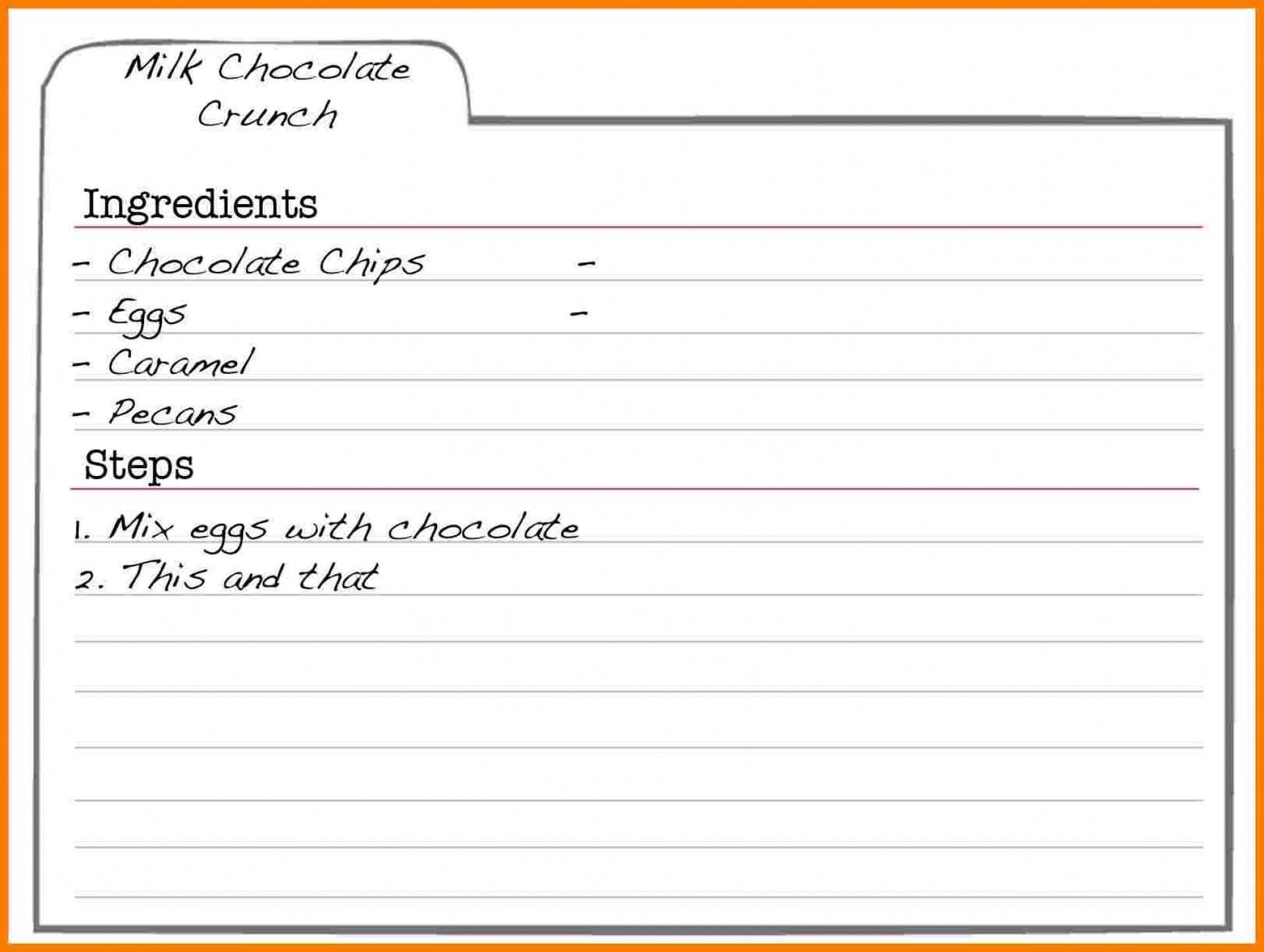 002 Frightening Recipe Card Template For Word Highest Clarity  Printable Blank Fillable1920