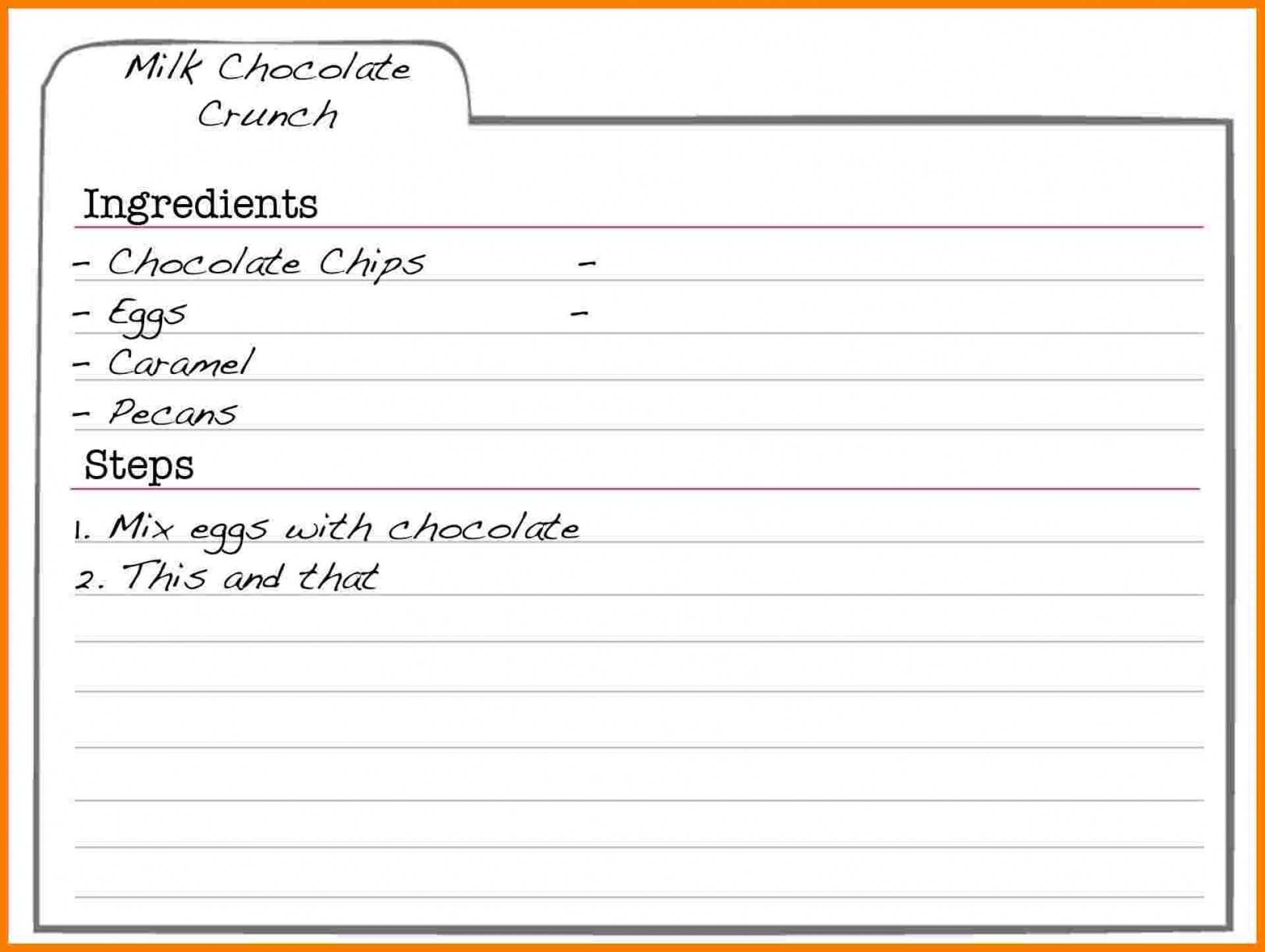 002 Frightening Recipe Card Template For Word Highest Clarity  Printable Blank FillableFull