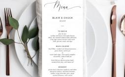 002 Imposing Diy Wedding Menu Template Sample  Free Card