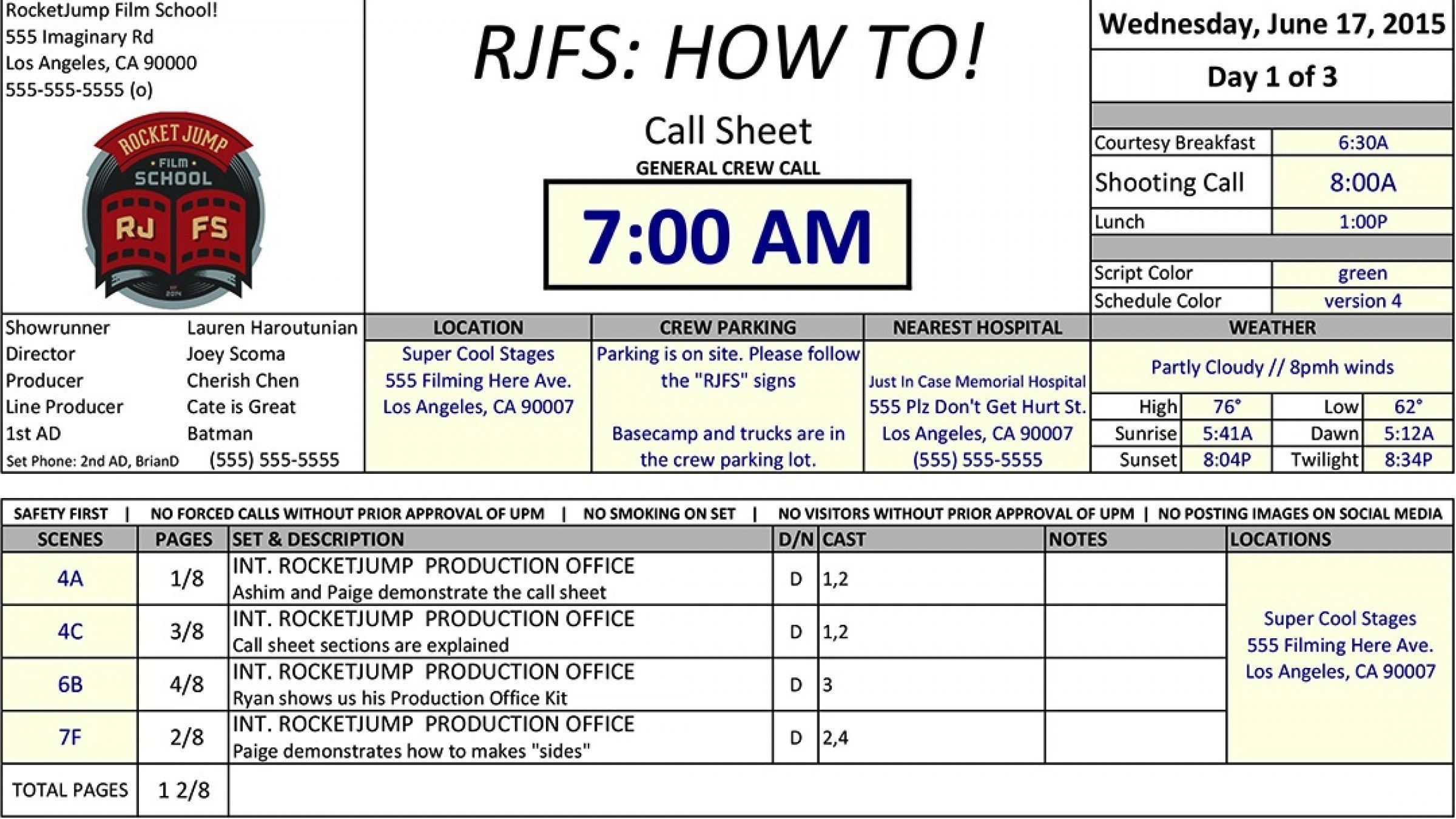 002 Imposing Film Call Sheet Template Download High Definition Full
