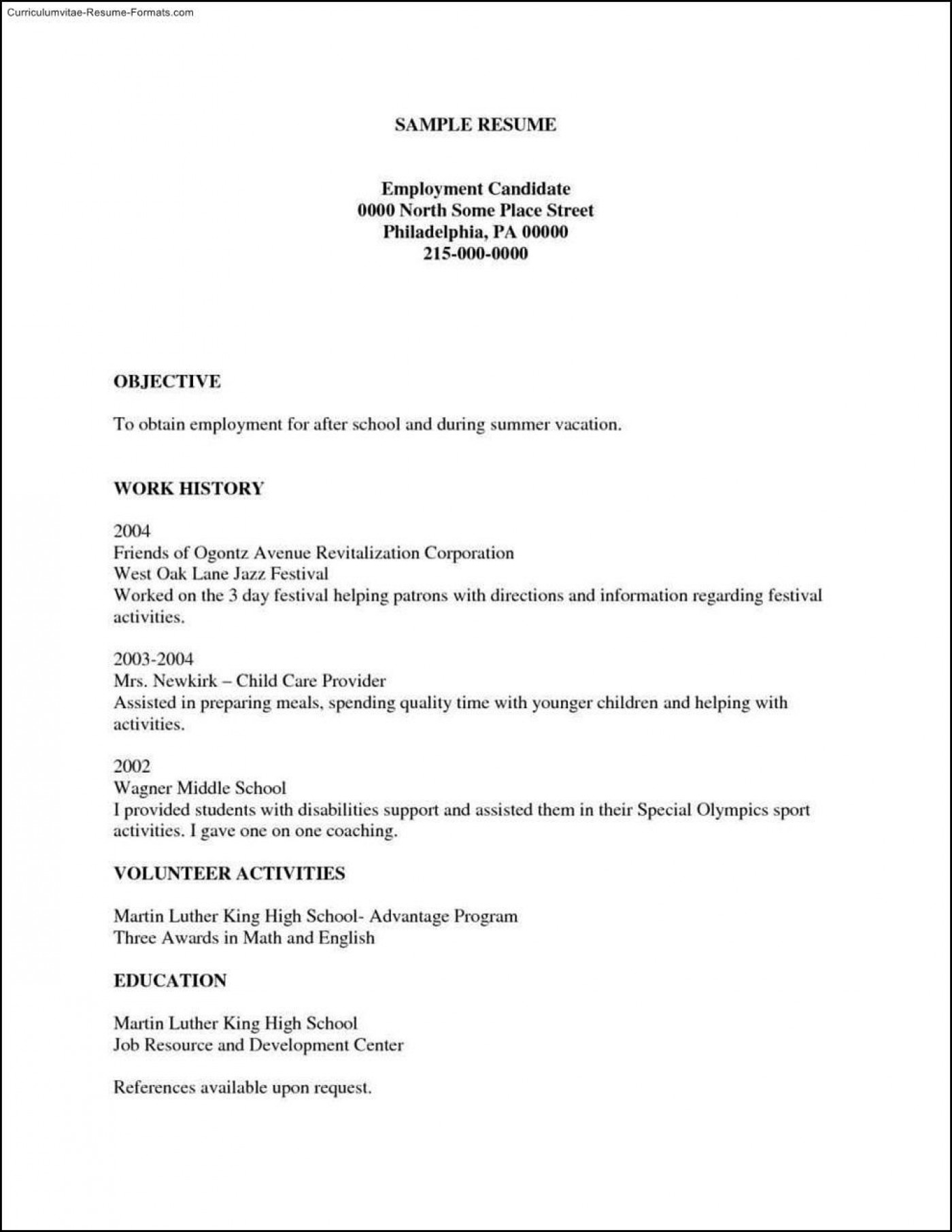 002 Imposing Free Chronological Resume Template Example  2020 Cv1400