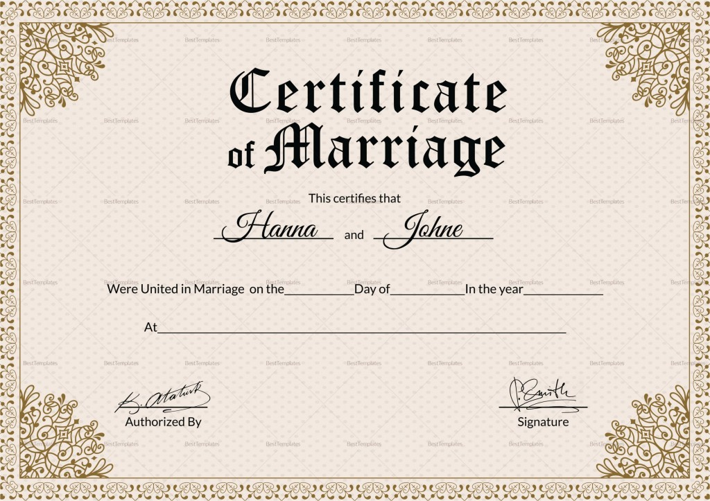 002 Imposing Free Marriage Certificate Template Photo  Renewal Translation From Spanish To English Wedding DownloadLarge