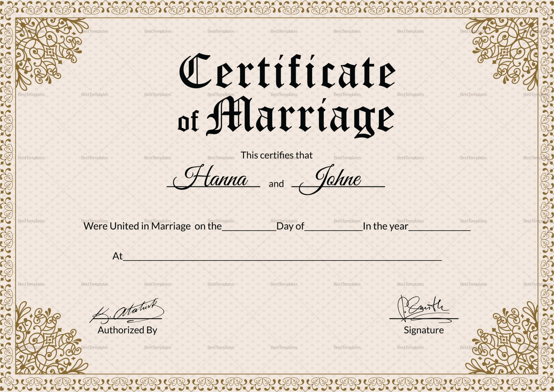002 Imposing Free Marriage Certificate Template Photo  Renewal Translation From Spanish To English Wedding Download1920
