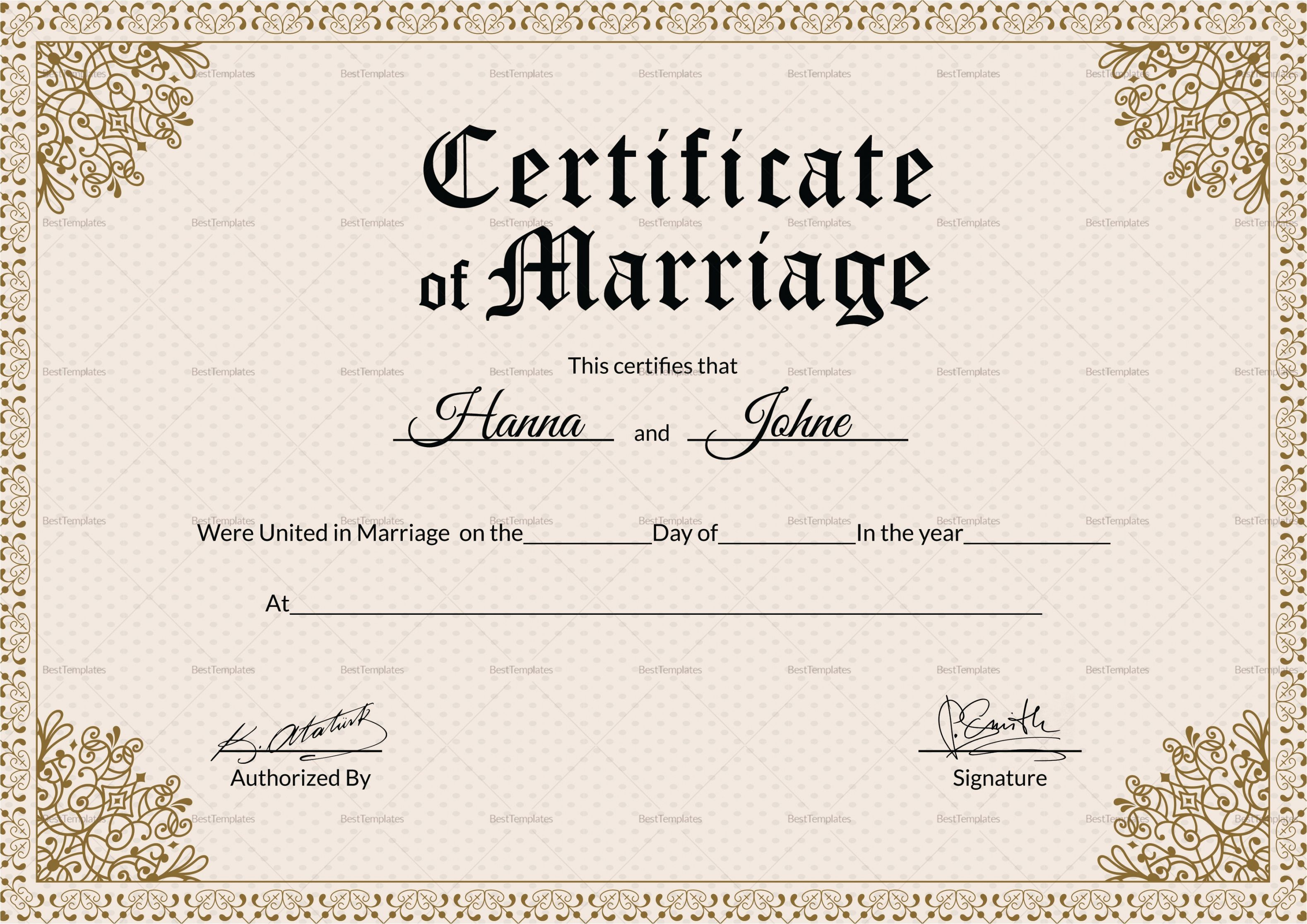 002 Imposing Free Marriage Certificate Template Photo  Renewal Translation From Spanish To English Wedding DownloadFull