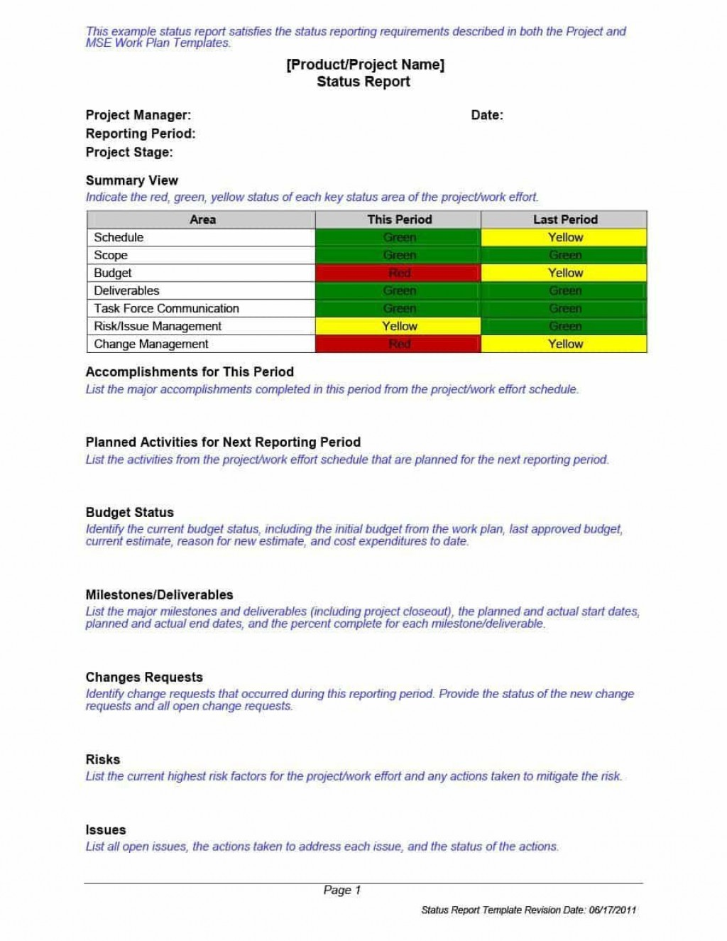 002 Imposing Project Management Statu Report Template Word Concept  FreeLarge
