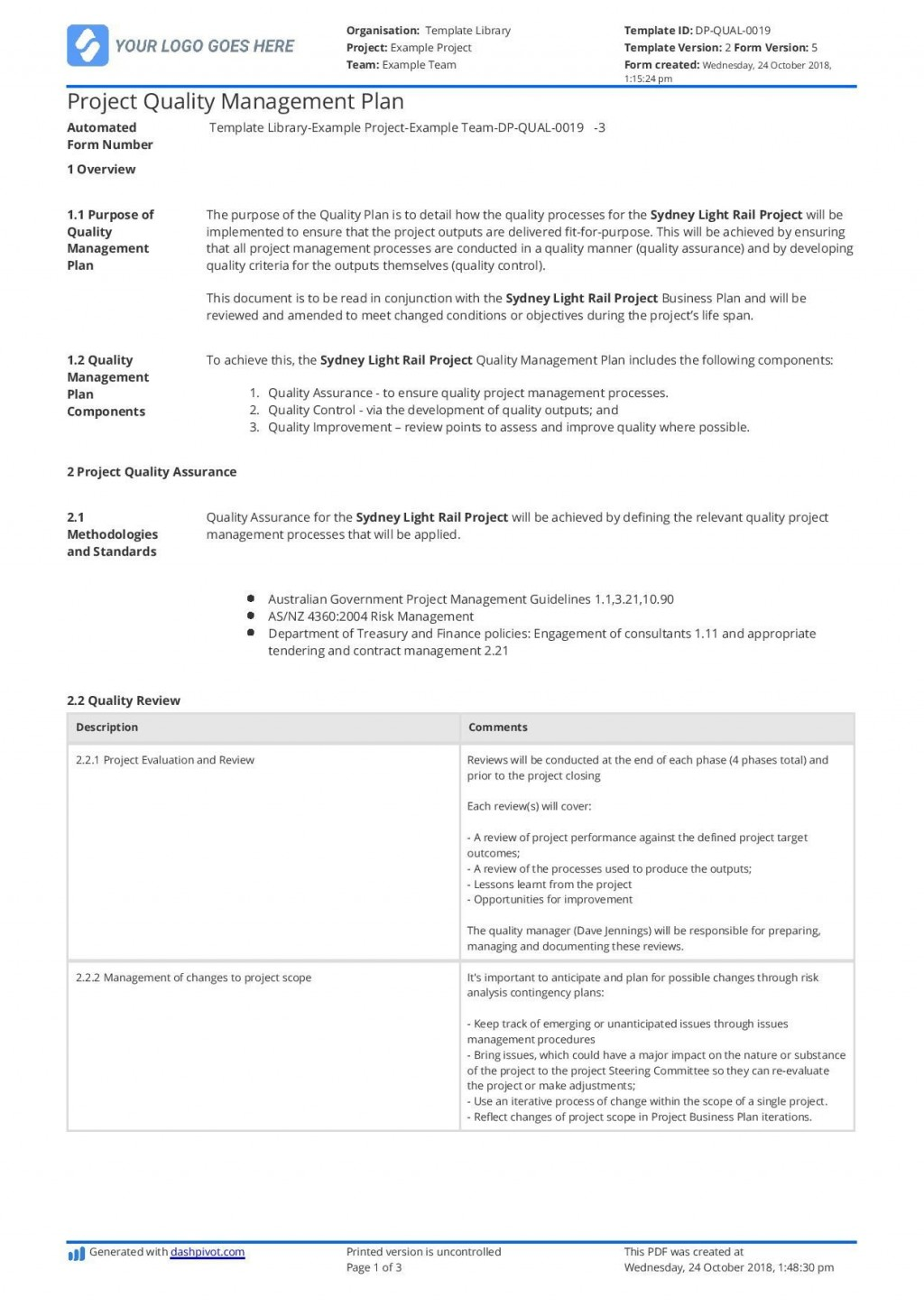 002 Imposing Project Quality Management Plan Template Pdf Concept  SampleLarge