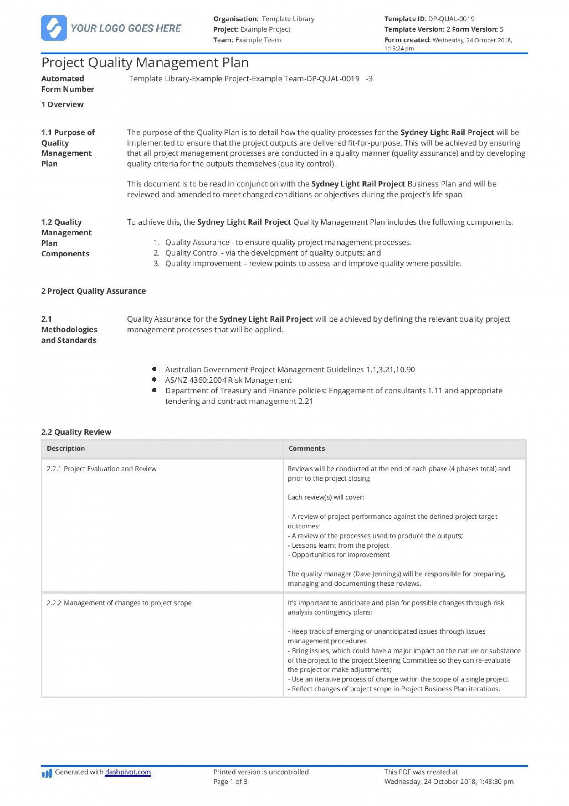 002 Imposing Project Quality Management Plan Template Pdf Concept  Sample1920