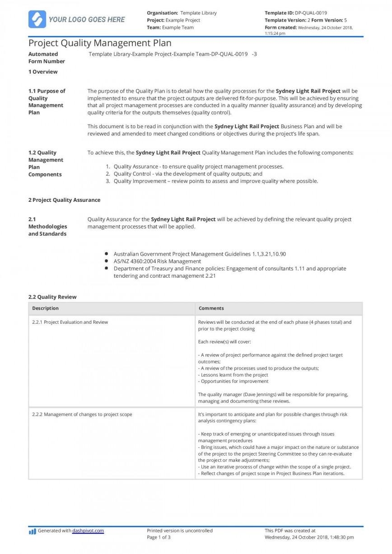 002 Imposing Project Quality Management Plan Template Pdf Concept  Sample Construction