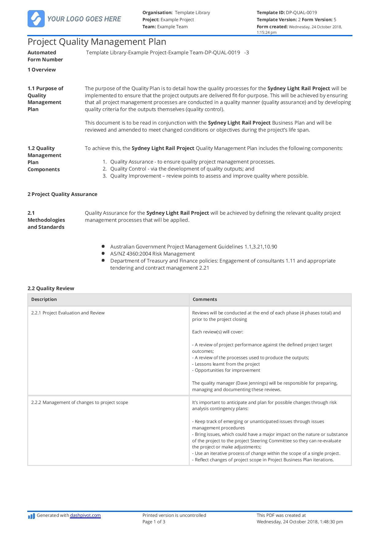002 Imposing Project Quality Management Plan Template Pdf Concept  SampleFull
