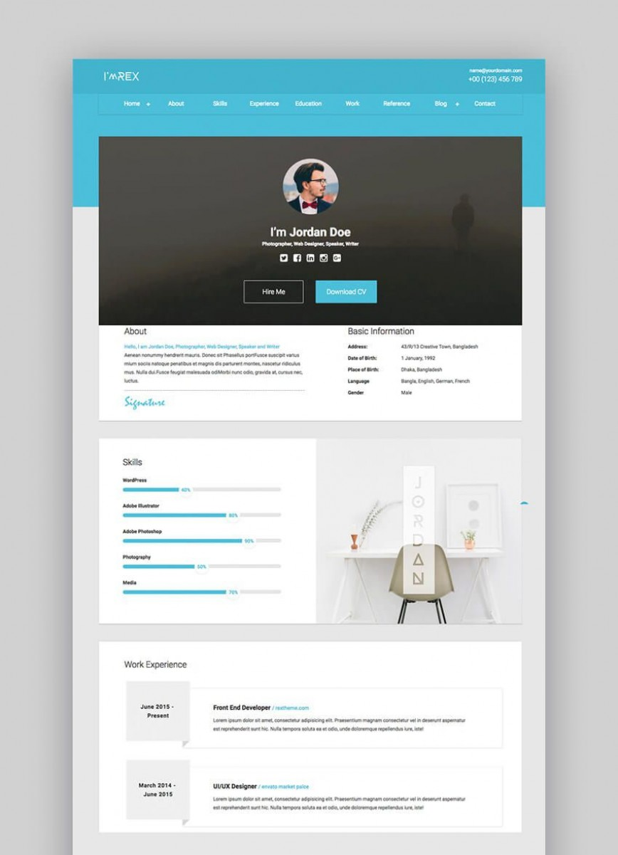 002 Imposing Resume Website Template Free Design  Personal Download Html Simple
