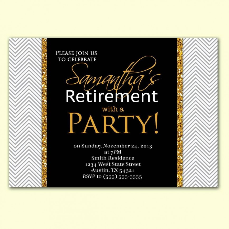 002 Imposing Retirement Party Invite Template Word Free Highest Quality 868