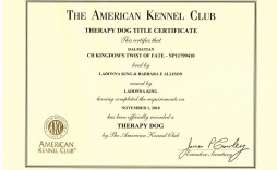002 Imposing Service Dog Certificate Template Example  Printable Id Free