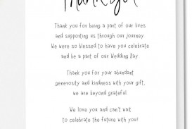 002 Imposing Wedding Thank You Note Template Picture  Example Wording Sample For Money Gift Shower