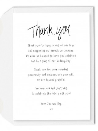 002 Imposing Wedding Thank You Note Template Picture  Example Wording Sample For Money Gift Shower320