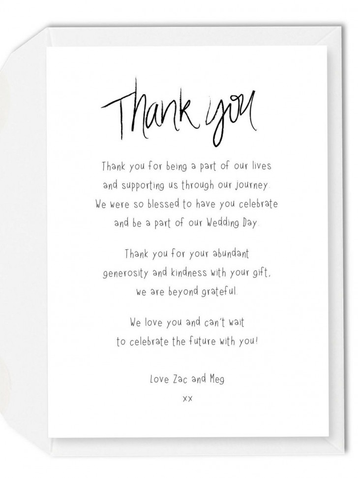 002 Imposing Wedding Thank You Note Template Picture  Example Wording Sample For Money Gift Shower728