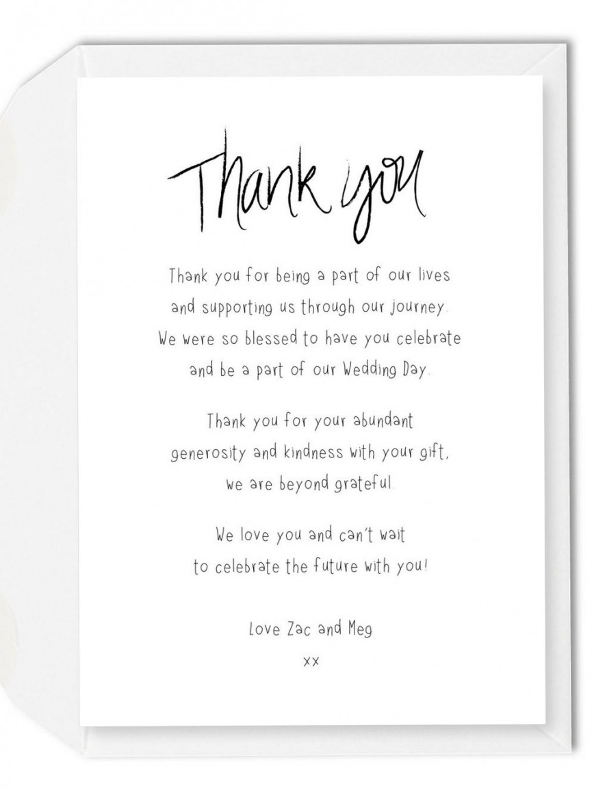 002 Imposing Wedding Thank You Note Template Picture  Example Wording Sample For Money Gift Shower868