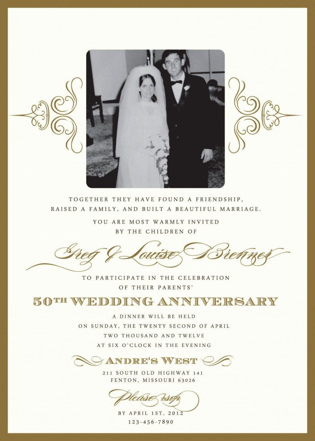 002 Impressive 50th Wedding Anniversary Invitation Template Free Highest Quality  Download Golden Microsoft WordLarge