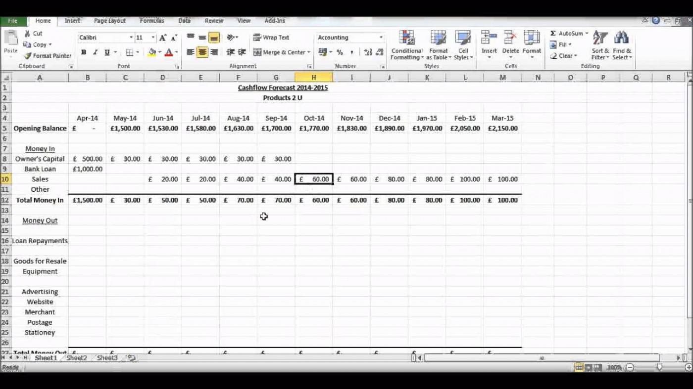 002 Impressive Cash Flow Sample Excel Photo  Spreadsheet Free Forecast Template1400
