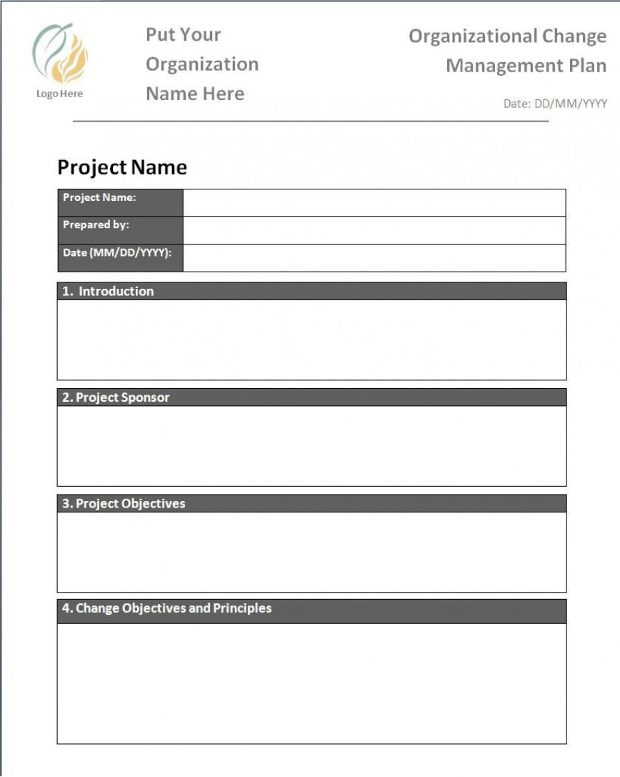 002 Impressive Change Management Plan Template Highest Quality  Templates