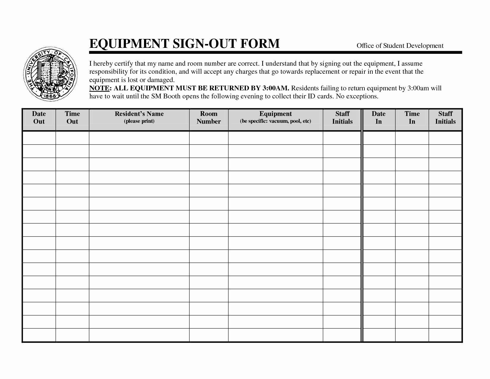 002 Impressive Equipment Sign Out Sheet Template Design  Pdf Free PrintableFull