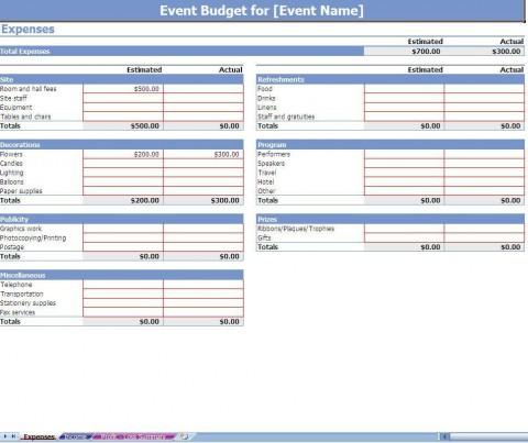 002 Impressive Event Planning Budget Worksheet Template Picture  Free Download Planner Spreadsheet480