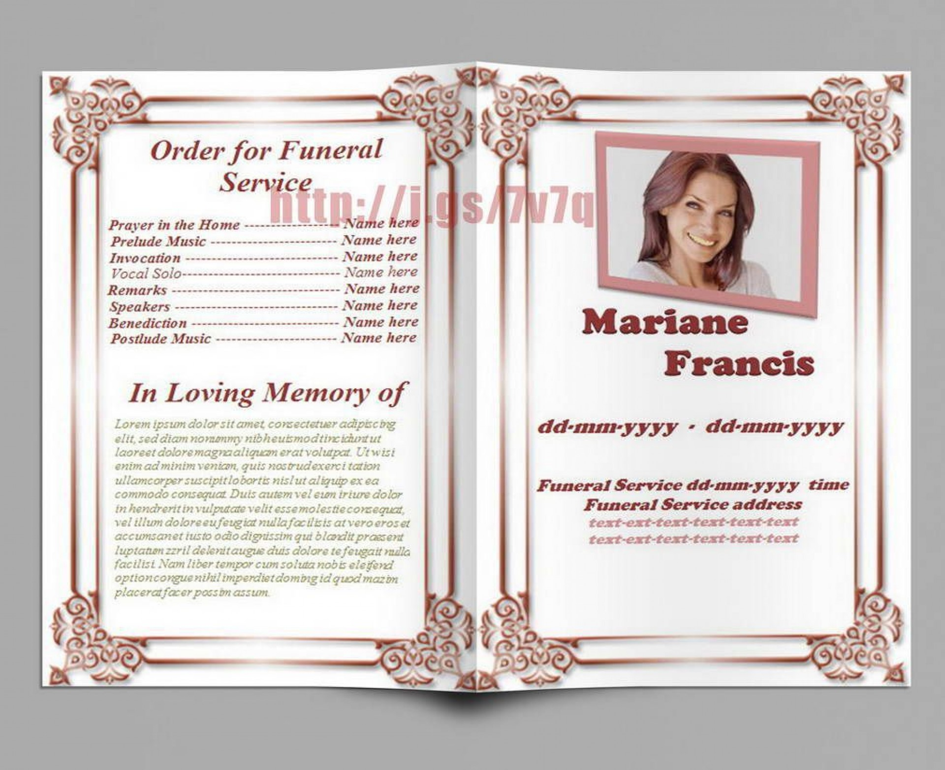 002 Impressive Example Funeral Programme Photo  Format Of Program Template Free To Download1920