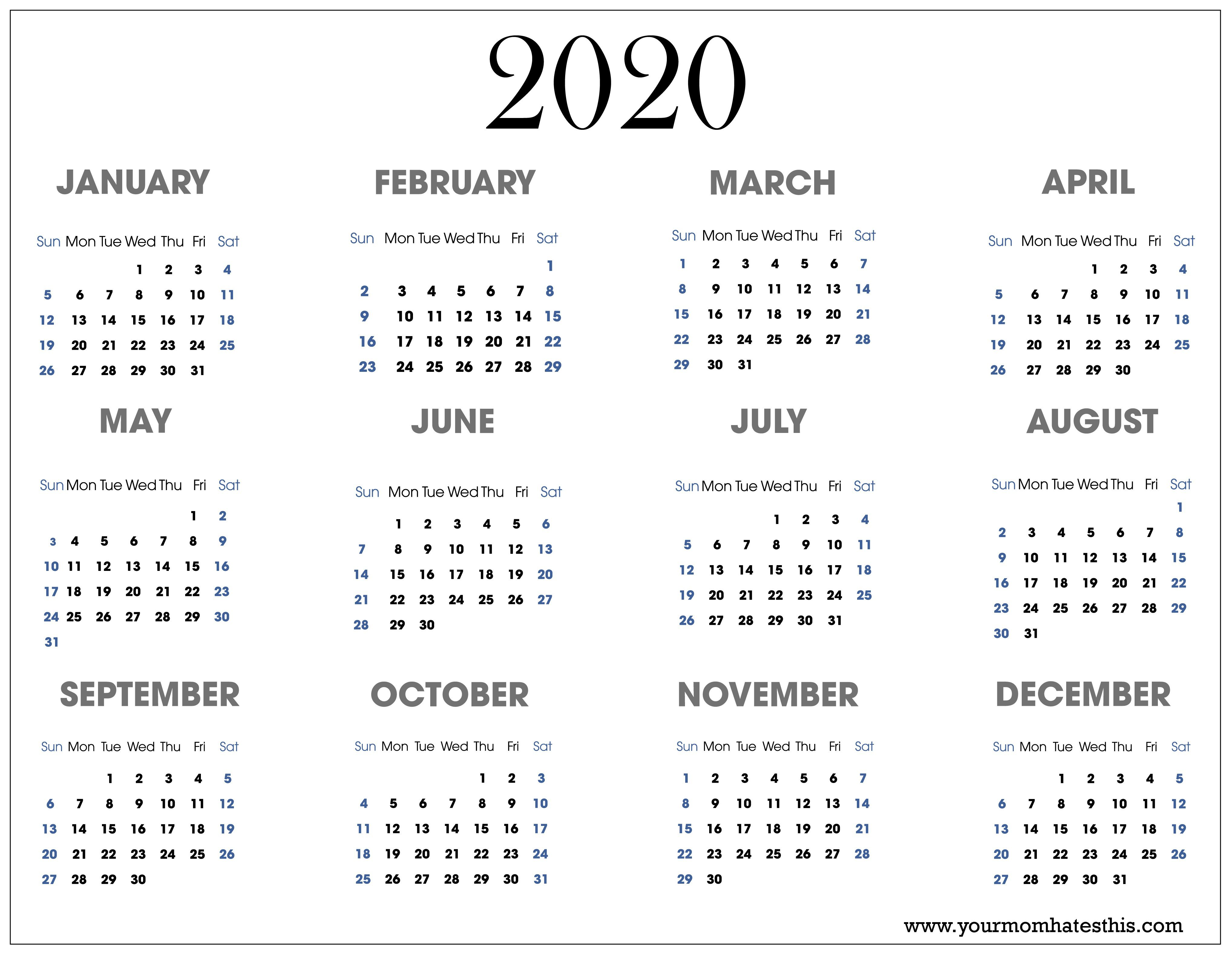 002 Impressive Free 2020 Calendar Template Idea  Templates Monthly Excel Download Printable MayFull