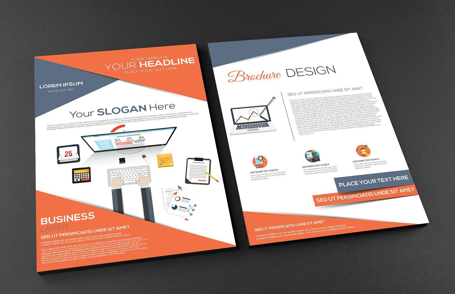 002 Impressive Free Brochure Template Psd File Front And Back Concept Full