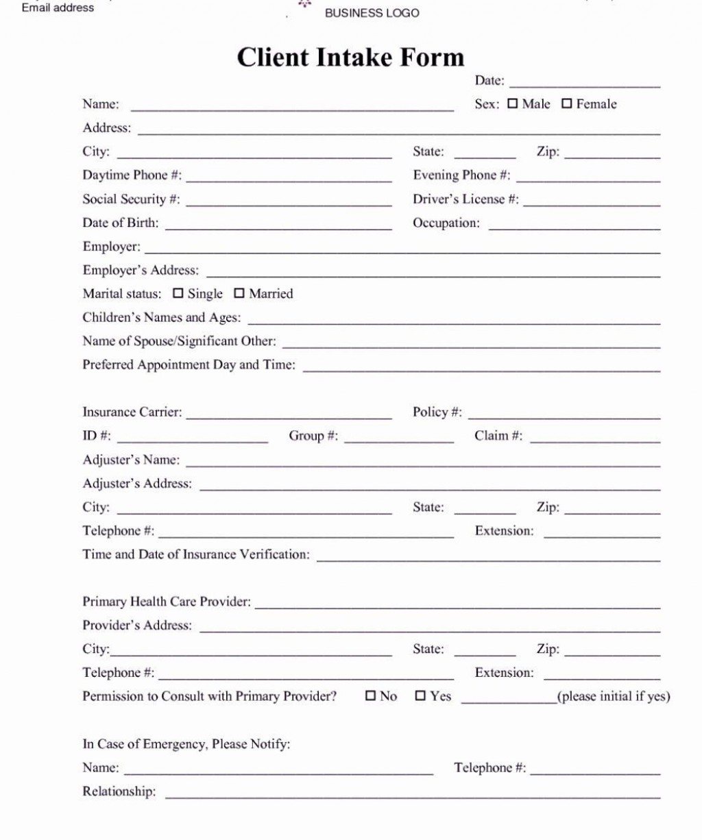 002 Impressive Free Patient Intake Form Template Image  Massage Client NewLarge
