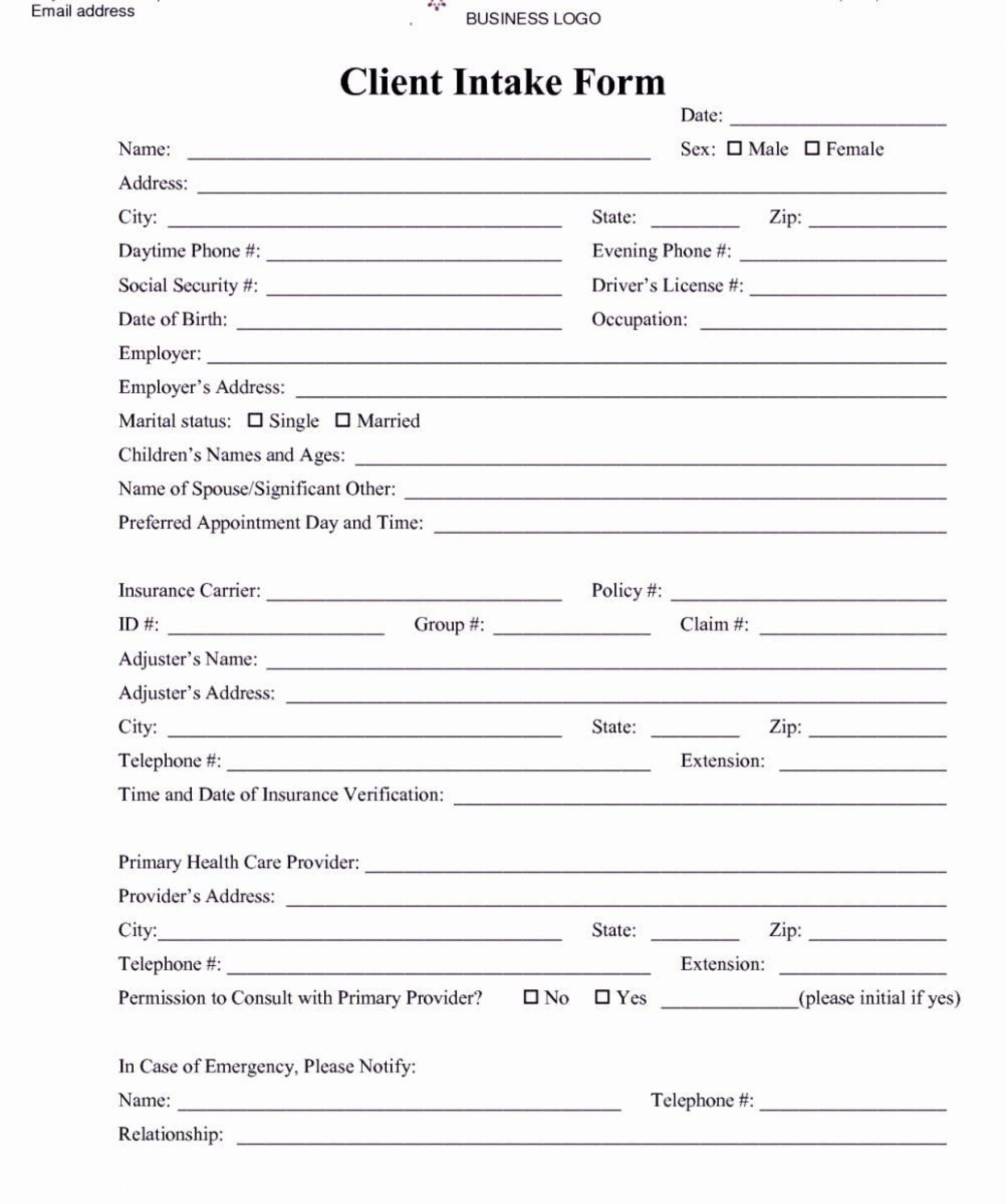 002 Impressive Free Patient Intake Form Template Image  Massage Client New1920