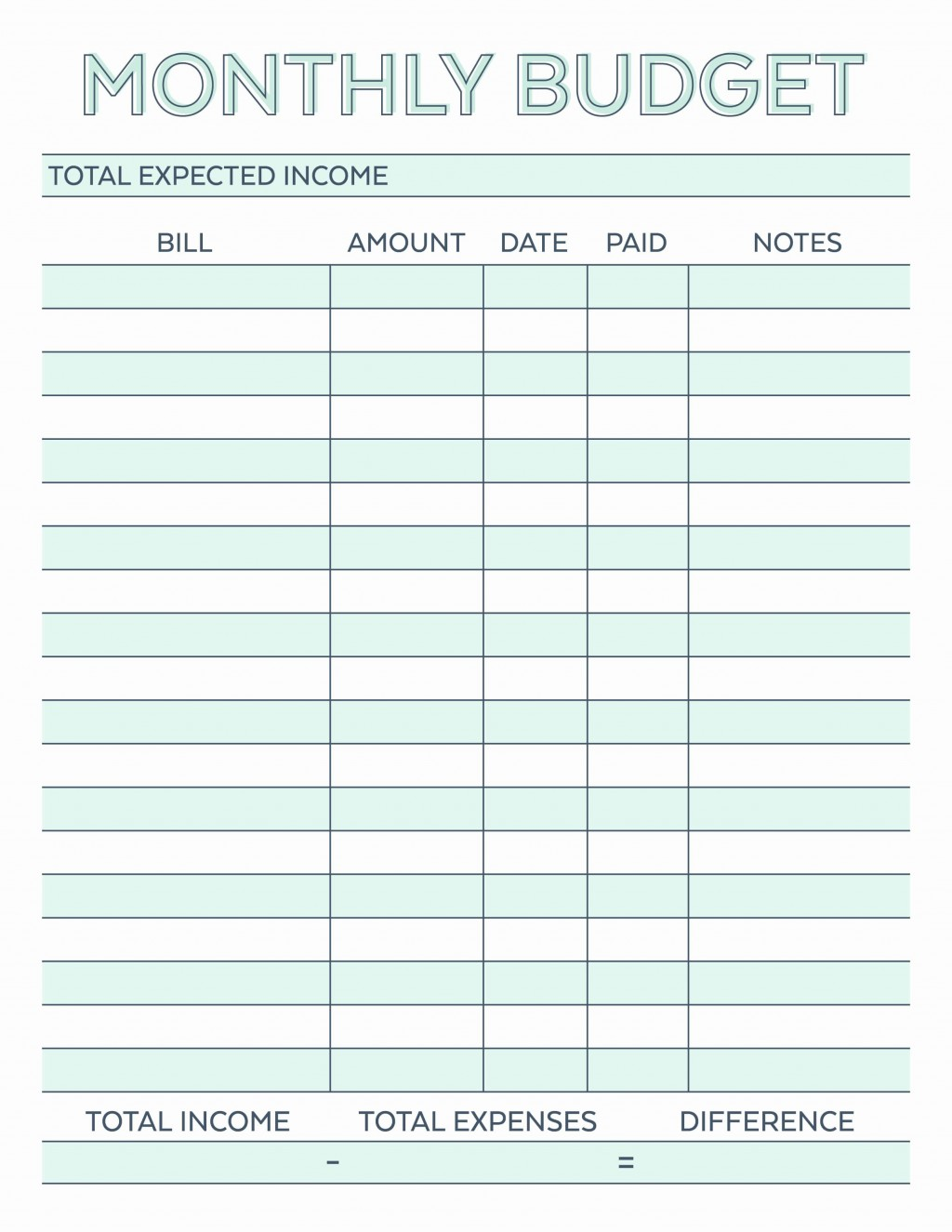 002 Impressive Free Printable Home Budget Template Example  Sheet FormLarge