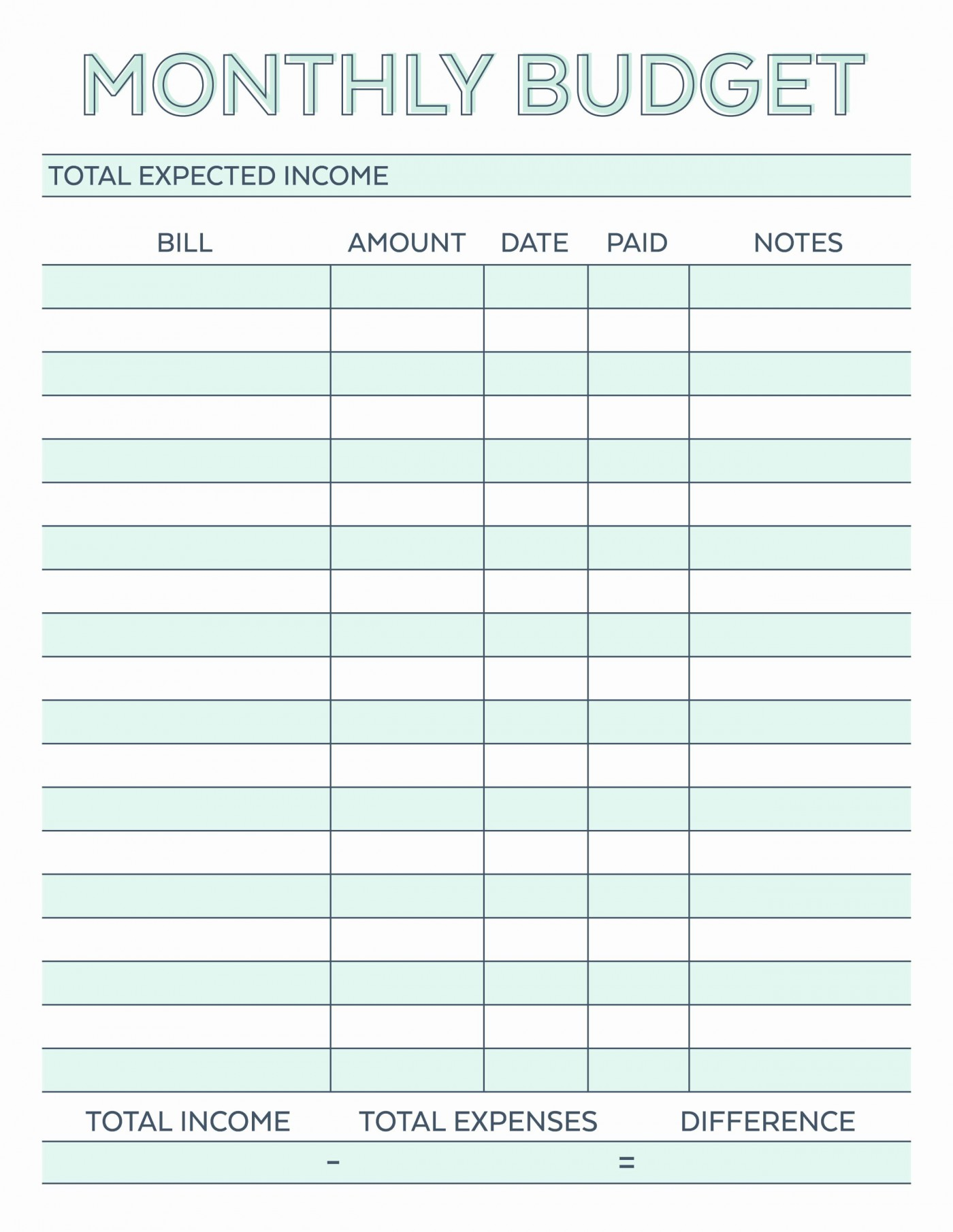 002 Impressive Free Printable Home Budget Template Example  Form Sheet1400