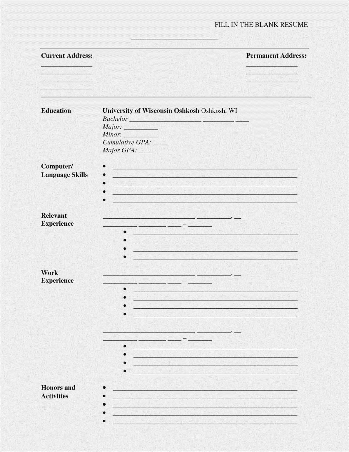 002 Impressive Free Printable Resume Template Blank Inspiration  FillFull