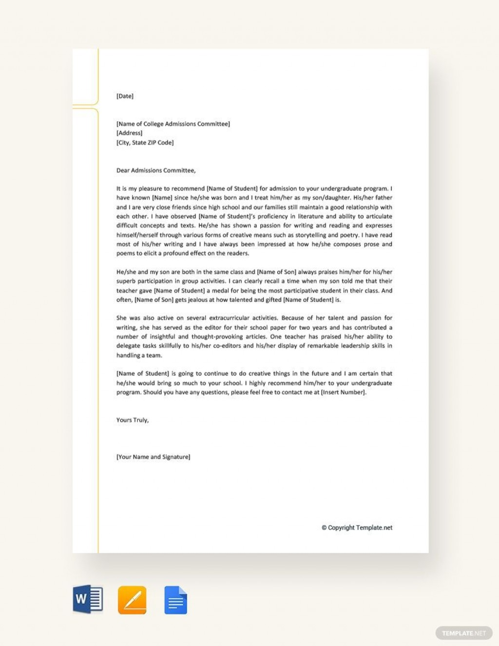 002 Impressive Free Reference Letter Template For Friend High Definition Large
