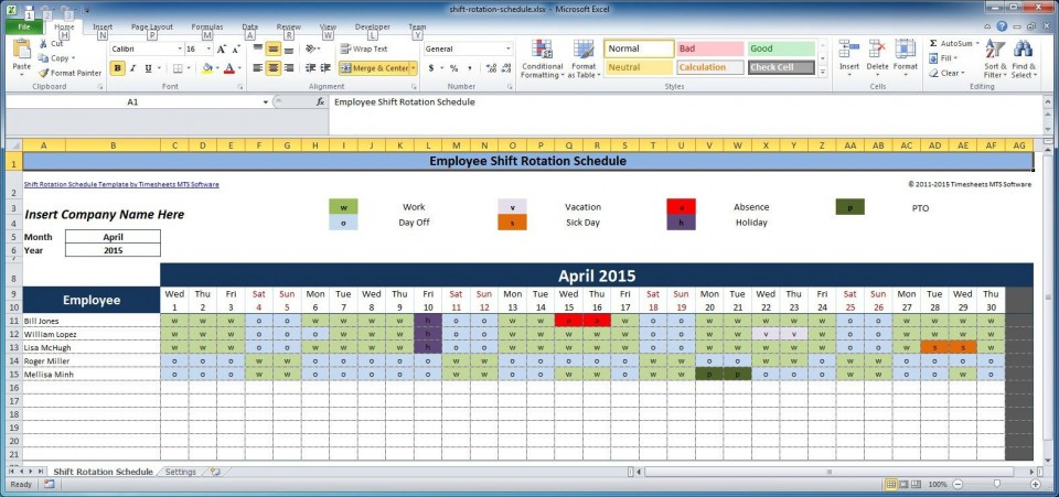 002 Impressive Free Rotating Staff Shift Schedule Excel Template Image 960