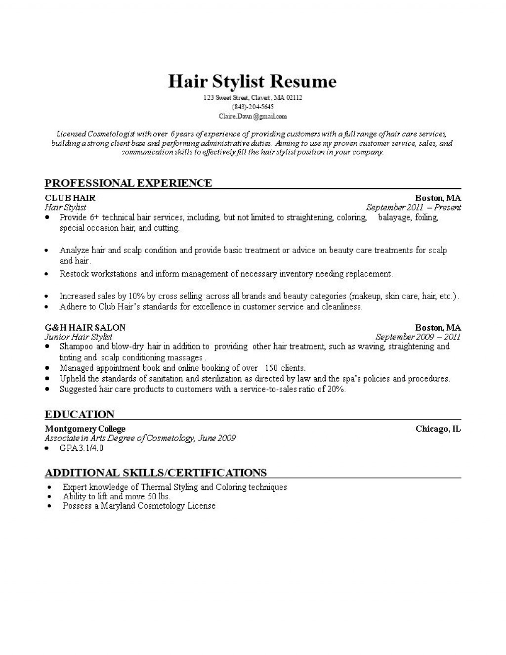 002 Impressive Hair Stylist Resume Template Picture  Word Free DownloadLarge