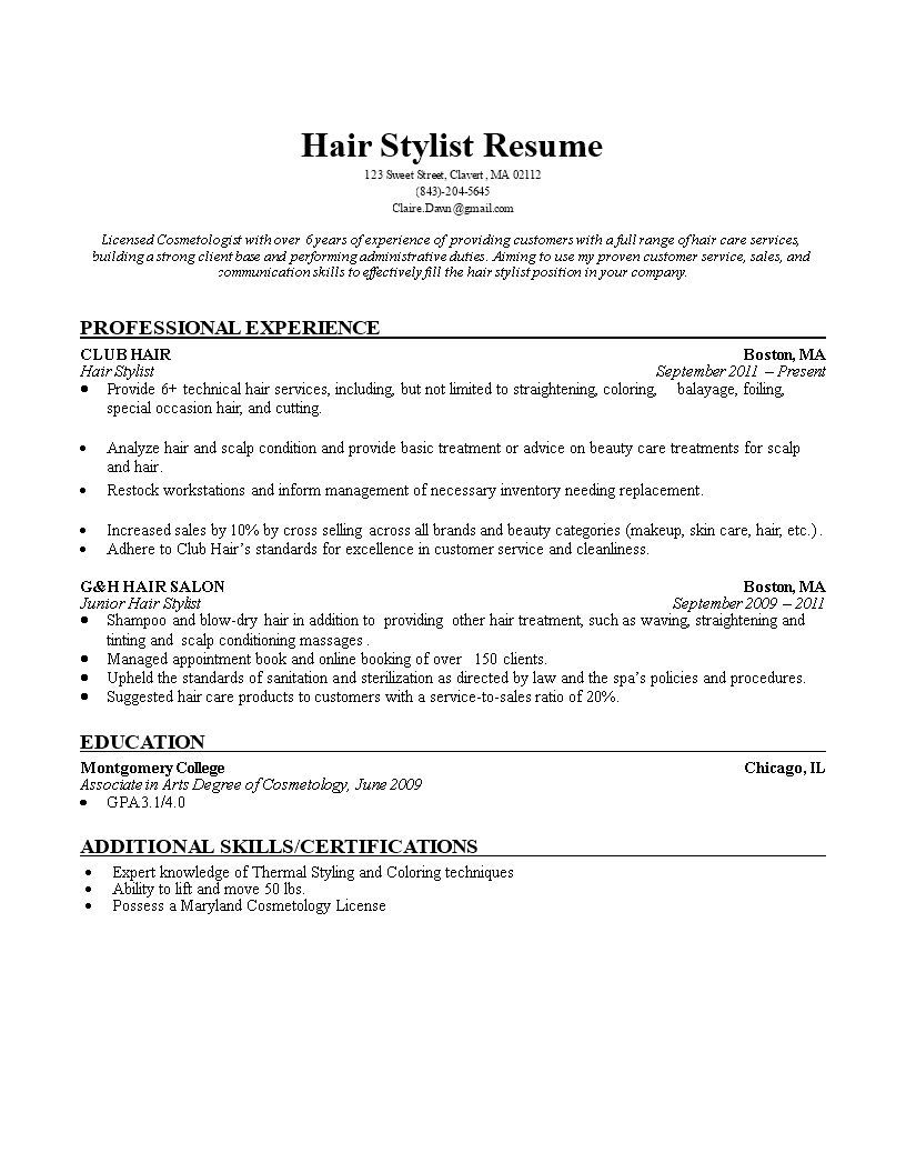 002 Impressive Hair Stylist Resume Template Picture  Word Free DownloadFull