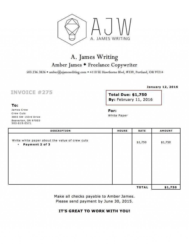 002 Impressive Invoice Template Uk Freelance Picture  Example Sample WordLarge